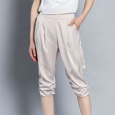 Women Harem Pants Casual Imitated Silk Tapered Cropped Trousers Capri 3/4 Shorts | eBay