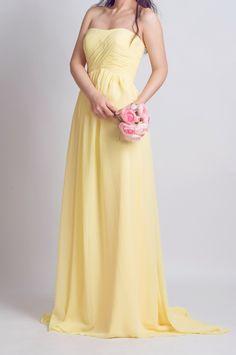pale yellow strapless sweetheart bridesmaid dress long 2015