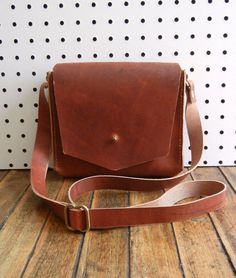 Made by my fabulous sister! Handstitched Leather Handbag Mini Messenger by CrowSLC on Etsy, $224.00