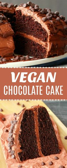 Classic Vegan Chocolate Cake - Loving It Vegan - Ultra rich and decadent vegan chocolate cake that is also so simple and easy to make! Moist, mega chocolatey and as totally divine as a chocolate cake can be! Healthy Vegan Dessert, Cake Vegan, Vegan Dessert Recipes, Vegan Treats, Delicious Vegan Recipes, Vegan Foods, Vegan Dishes, Dairy Free Recipes, Easy Desserts