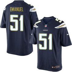 Nike Limited Kyle Emanuel Navy Blue Youth Jersey - Los Angeles Chargers #51 NFL Home