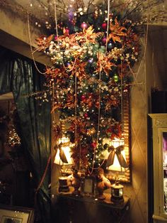 upside down christmas tree in cherry blossoms and copper colored poinsettias christmas 2017 xmas - Upside Down Christmas Tree Decorated