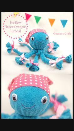 Fleece Crafts, Sock Crafts, Diy Crafts To Do, Preschool Crafts, Yarn Crafts, Felt Crafts, Crochet For Kids, Sewing For Kids, Octopus Crafts