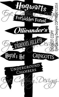 Harry Potter Hogwarts Road Sign Diagon Alley by EyeCatchingDesignz