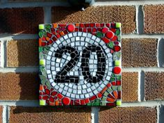 Mosaic house numbers - love the circle and the round tiles too!