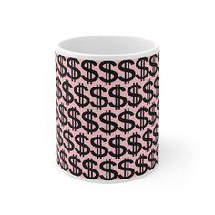 High Quality  Dollar Mug 11oz Round Corner, Hot Chocolate, White Ceramics, Gifts For Women, Shapes, Tea, Mugs, Coffee, Tableware