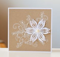 elegant- white emboss and pearls with white flower on taupe background