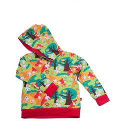 hoodie forrest animal : heel leuke hoodie afgewerkt met rode accenten dit stofje heeft een GOTS label