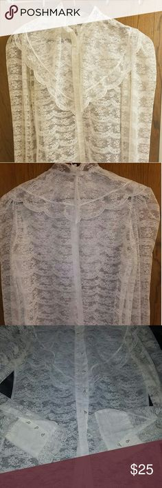 100% lace shirt 100% lace 1920s replica with peal buttons fits M-L Tops Button Down Shirts