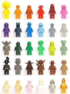 Colorful LEGO Minifigs by JéRôMe, via Flickr - If you ♥ LEGO®, come and have a look at the crowdest LEGO® LOVE group board http://www.pinterest.com/yourfrenchtouch/lego-love #LEGO