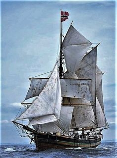 """Norwegian Topsail Ketch """"Svanhild"""" under full sail at Port Rush for the first leg of the Liverpool Tall Ships Race '08"""