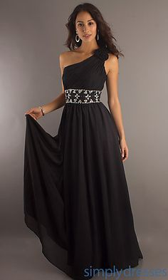 Long One Shoulder Formal Dress, Black Prom Gown - Simply Dresses
