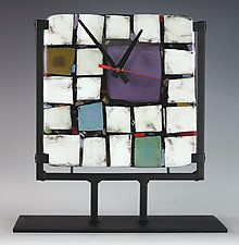 'Tribeca: Purple' by Nina Cambron (Art Glass Clock)