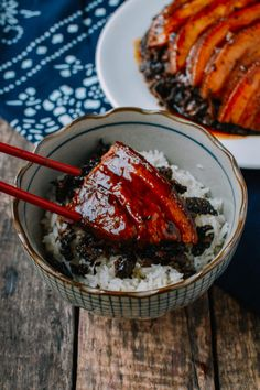 Mei Cai Kou Rou Recipe (Steamed Pork Belly w/ Preserved Mustard Greens), by thewoksoflife.com