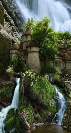 Waterfall Castle, Poland. This photo or castle can't be verified and is supposedly photoshopped with Cave Church, located in Budapest.