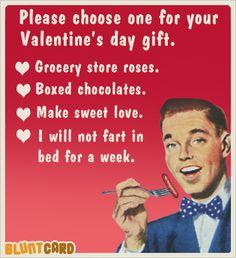 Valentine's Day - Funny free online cards for kind of mean, self absorbed, drunks. Bluntcard.com