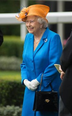 The Queen in Blue and orange
