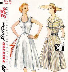 Vintage 1950s dress sewing pattern