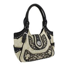 Cream and Black Scroll and Concho Accented Handbag Purse
