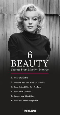 Marilyn Monroe has taught us a lot about what it means to be a beauty icon. We've discovered that the sexy starlet had a few must-know beauty tricks. From old-school highlighting methods to her signature fragrance, Marilyn's beauty secrets are still worth Daily Beauty Routine, Manicure E Pedicure, Pedicure Tips, Ingrown Hair, False Lashes, How To Apply Makeup, Red Lipsticks, Skin Care Tips, My Idol