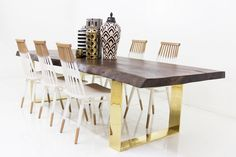 Walnut Finished Parota Eco Slab Dining Table w/ Brass U Legs