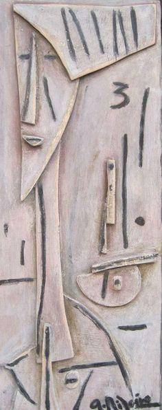 "Alceu Ribeiro (Taller Torres García)  ""Figura II"" Acrílico sobre madera 47 X 19 cms. Año 2013  http://www.portondesanpedro.com/ver-producto.php?id=10827"