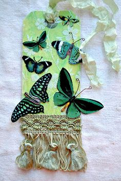Butterflies, lace trim, gift tag, label, DIY paper craft, mixed media art.