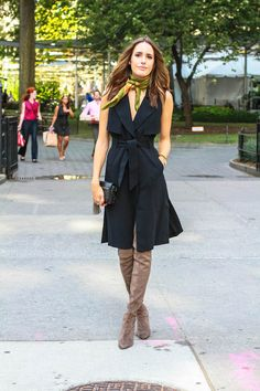 New York Fashion Week Fall 2015 Street Style - Louise Roe Streetstyle - Black Trench Dress 5