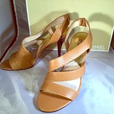 "Michael Kors Farris Boa Slingback Sandals NWOT Farris Boa slingback sandals in Peanut Brown.  New without tags, but box is included.  3 1/2"" heel.  Great to wear with jeans. Michael Kors Shoes Heels"