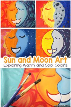 Older Kids Crafts Art Projects - Sun and Moon Painting Art Lesson With Warm and Cool Colors. Group Art Projects, Classroom Art Projects, Easy Art Projects, Art Classroom, Kindergarten Art, Preschool Art, Preschool Lessons, Painting For Kids, Art For Kids