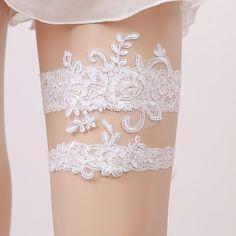 2 Unids/set encaje Blanco perla de La Novia de Liga de Las Mujeres Ligas Atractivas de la Ceremonia de Matrimonio Suministros de la Boda de Novia anillo de La Pierna Liguero