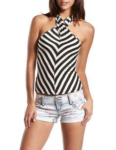 Striped Sleeveless Halter Top