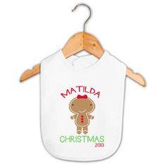 Baby Name Gingerbread Girl Christmas Bib   Personalised Baby Gifts   Word On Baby