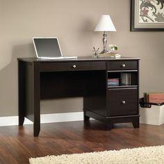 edge water x wooden computer desk and hutch with organizing cubbyhole storage estate black by sauder bizchaircom timber