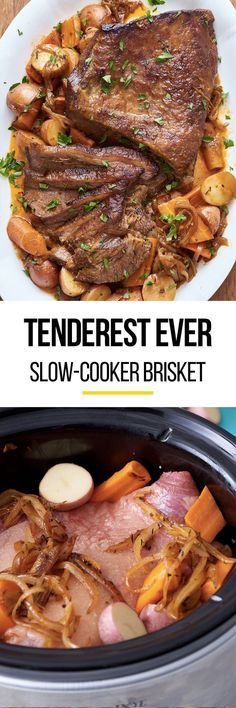 How to make SUPER TENDER beef brisket in your crockpot or slow cooker. Pull out your crock pot to make this recipe just like your Jewish grandmother used to make! So easy with step by step photos. This classic comfort food recipe is perfect for cold weather in the winter or fall.