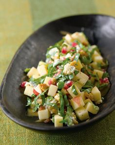 Chopped apple salad with toasted walnuts, blue cheese, pomegranate vinaigrette via @styleathome