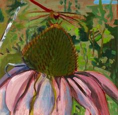 Lois Dodd  Echinacea and Dragonfly  2004