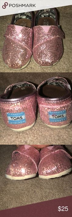 Pink toms size 4 The glitter is fading all around both shoes Toms Shoes Sneakers