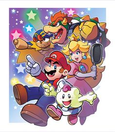 Mario, Peach, Bowser, and Mellow Super Mario Bros, Super Mario Kunst, Super Mario World, Super Mario Brothers, Super Smash Bros, Mario Und Luigi, Mario Fan Art, Videogames, Mario And Princess Peach