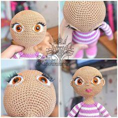 """DIY eyes for Amigurumi Doll """"ВЕСЁЛЫЕ ПЕТЕЛЬКИ"""" Crochet Eyes, Cute Crochet, Knit Or Crochet, Knitted Cat, Knitted Dolls, Crochet Dolls, Doll Eyes, Doll Face, Crochet Doll Pattern"""