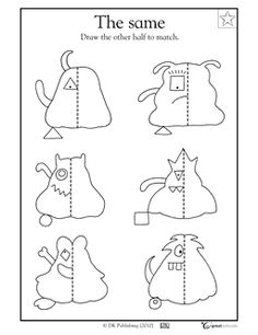 A line of symmetry is the exact middle of a shape. In this coloring math worksheet, your child will draw the other half of each monster. Symmetry Worksheets, Symmetry Activities, 4th Grade Math Worksheets, Art Worksheets, 1st Grade Math, Math Activities, Kindergarten Art Lessons, Art Lessons Elementary, Symmetry Art