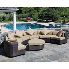 SEMI-CIRCLE SECTIONAL - Made with UV resistant resin rattan with top grade aluminum framing, powder coated for weather proofing. 8cm cushions are double lined with waterproof fabric with zipper for removal. Rattan and cushion color may vary from picture. Includes sectional with footrest and cushions. Please contact us with any questions at mailto:hollywood@... or 954-923-4446