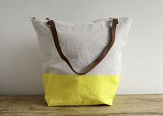 Yellow & Natural Tote by threadandpapershop on Etsy, $68.00