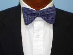 Navy Pin Dot Bow Tie by BarryBeaux on Etsy, $45.00
