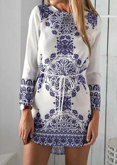 Long-Sleeve-Floral-Print-Mini-Dress for $22.99 at eBoutique Fab. M,L,XL