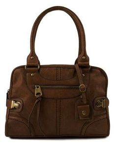 Scarleton Large Satchel - Brown Synthetic with fabric lining. x Zipper  closure 17b96de4f9141