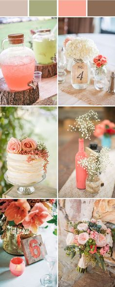 elegant rustic coral wedding color ideas