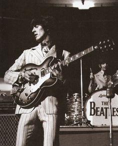 George and Ringo on stage, 13 August 1966, Olympia Stadium, Detroit, MI Photo: Bob Bonis - thateventuality