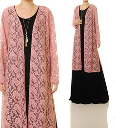 Pink Lace Cardigan | Pink Lace Duster Vest | Pink Bridesmaid Robes | Kimono Lace Cardigan | Pink Lace Robe | Pink Lace Dress 6505 by Tailored2Modesty on Etsy