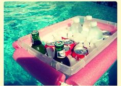 DIY floating cooler- cut a noodle and tie a rope through it, around a Rubbermaid bin. genius wish I knew this when I had my pool! Do It Yourself Furniture, Do It Yourself Home, Summer Fun, Summer Time, Hello Summer, Summer Ideas, Summer Pool, Summer Loving, Beach Ideas